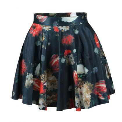 High Waist Floral Print Pleated Sho..