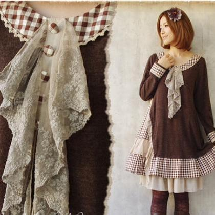Mori Girl Retro Vintage Fall Knitti..