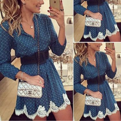 Sexy Women Long Sleeve Lace Party F..