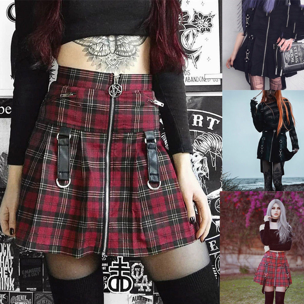 Red Tartan Short Skirt Women/'s Girls High Waist Pleated Check Micro Mini 011