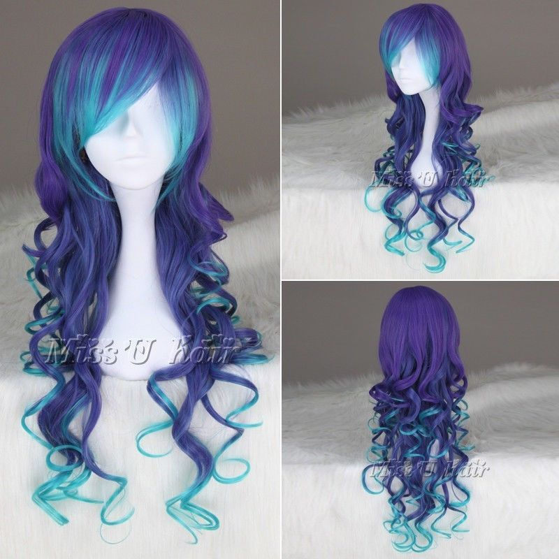 Blue Mix Purple Long Curly Synthetic cosplay Wig lolita wigs
