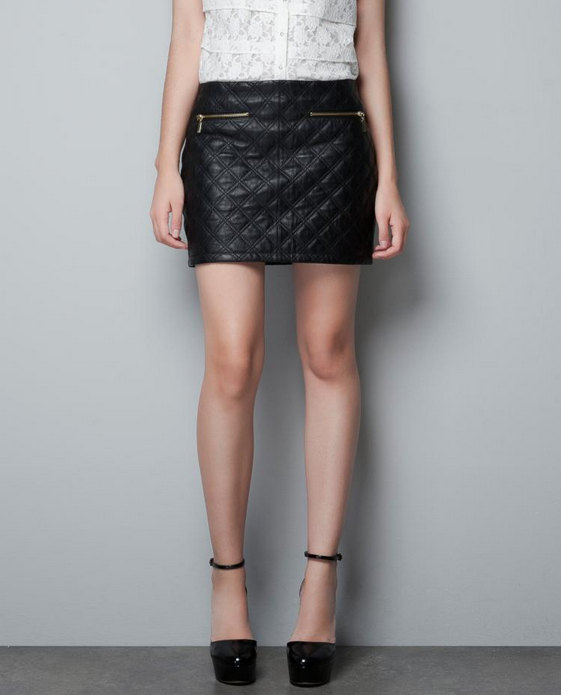 Women casual sexy diamond pattern quilted Synthetic leather trim skirt