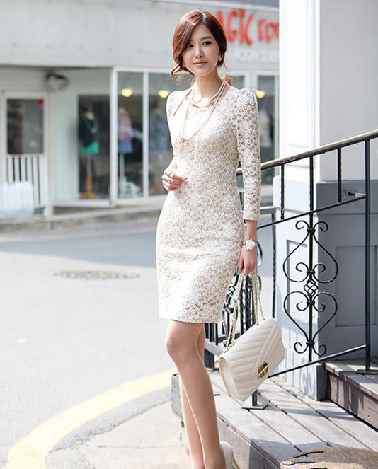 Fashion Women Black White Apricot Lace Slim Style Puff Long Sleeve Wrap Bodycon Dress