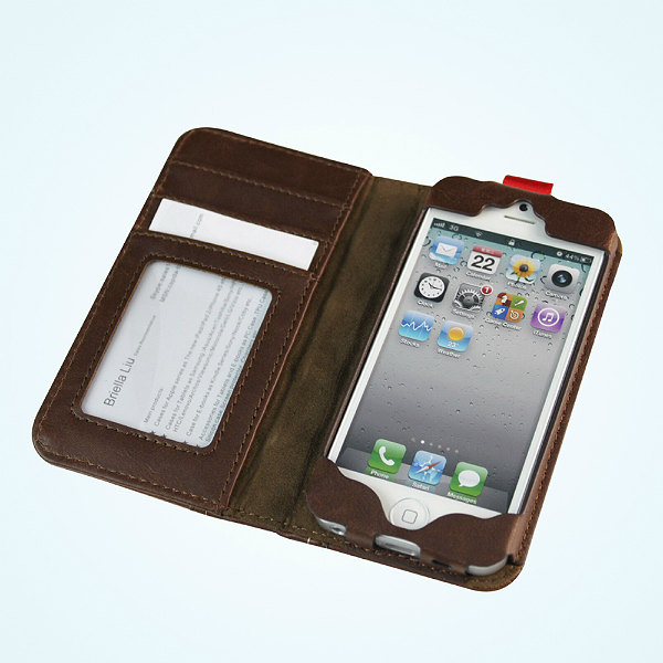 Antique leather book case cover for iphone 5 protector defender designer wallet