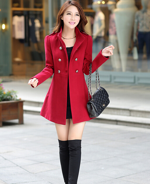 Trendy fashion Slim Ladies Color Long Collar Woolen Wool Coat
