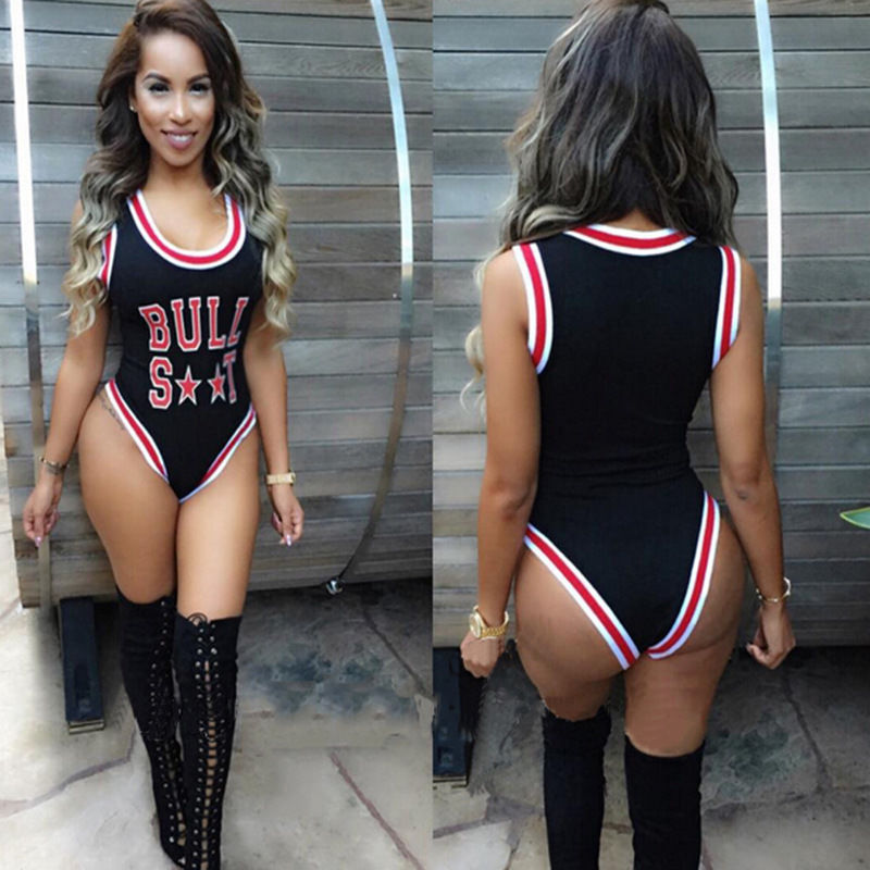 2f9cbf80b9d8b Black Sexy Bull Basketball Clothes One Piece Letter Printed Swimwear  Swimsuit