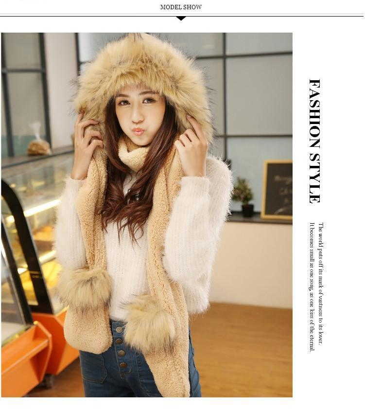 All in One FOX FUR Winter Warm Ski Hat with scarf and mittens Glove Gloves