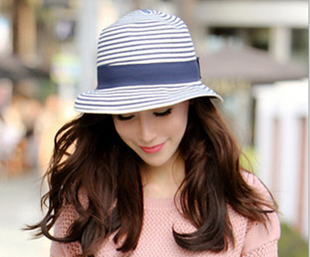 Miami Beach Shading Sun Ladies Women Summer Straw hats Stripe Fisherman Caps