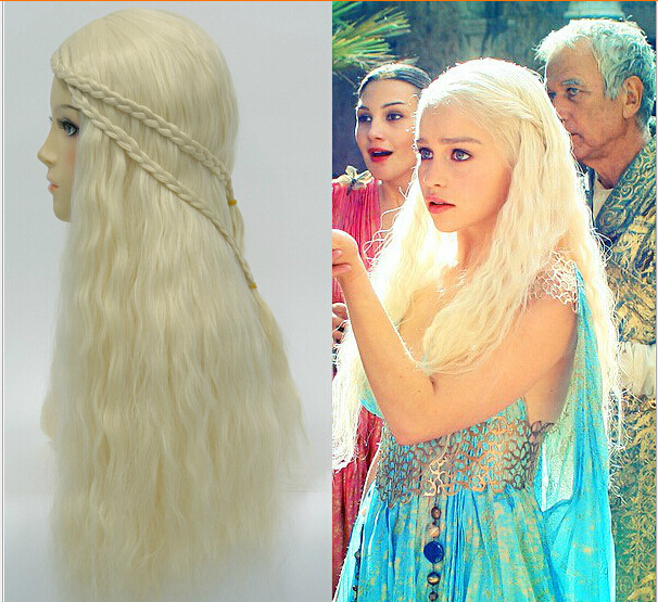 Moive Game of Thrones Daenerys Targaryen Beige Fluffy Long Coplay Women Wig Wigs