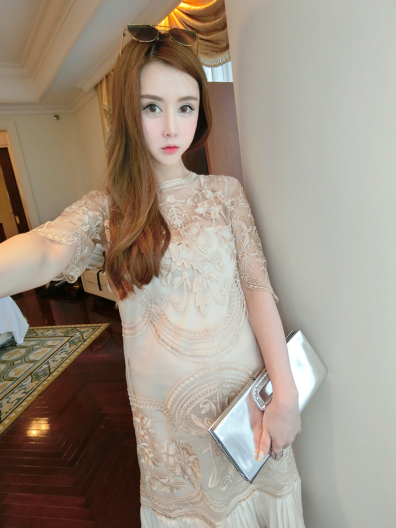 New Arrival Sweet Ladies Women fashion Organza Embroidered slim Pencil Dress