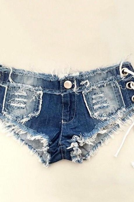Clubwear High Quality Women Denim Shorts Low Waist Hot Pant Sexy Distressed Jean