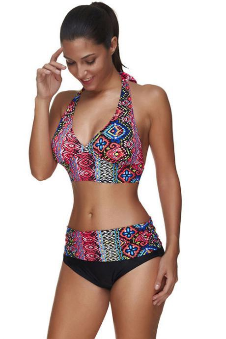 Colorful Swimsuit Tankini Halter Backless Swimwear Push Up Brazilian Bikini Suit