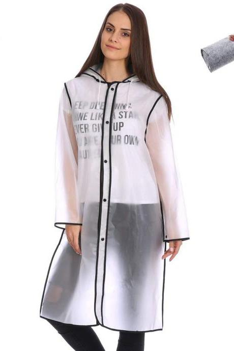 Cute Fashionable Vinyl Raincoat Runway Style Women Girls Clear Rain Raining Coat