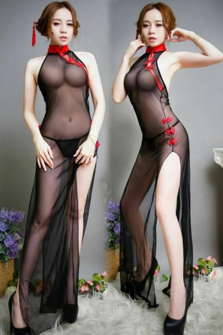 Sexy Smooth Lingerie G-String Sheer Mesh Vintage See Through Dress Cheongsam