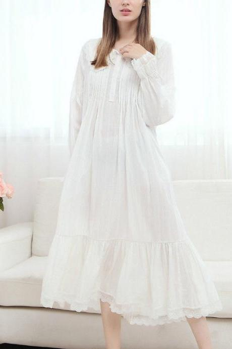 Comfortable Lolita Cotton Night Sleep Dress Wear Lace Ruffle Peter Pan Collar