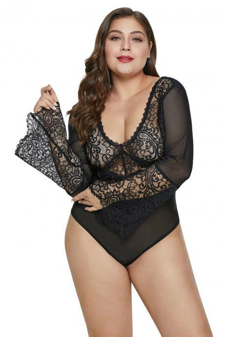 Stretchy Black Bell Sleeve Lace Mesh Plus Size Teddy Lingerie Bodysuit w/ Thong
