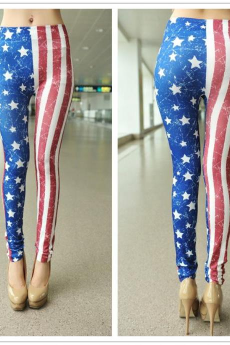 American US Flag July 4th Leggings Pants Star Stripes Red White Blue Patriotic