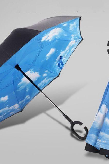 Anti-UV C-Handle Sun Rain Opposite folding Upside Down Reverse Inverted Umbrella