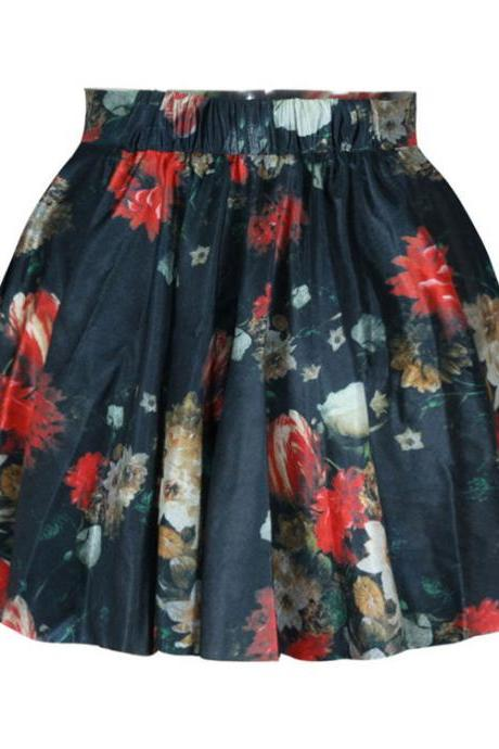 High Waist Floral Print Pleated Short Skater Skirt