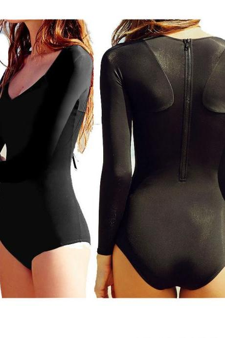 Ladies Long Sleeve Swimwear Black Back Zip One Piece Swimsuit Monokini Beachwear