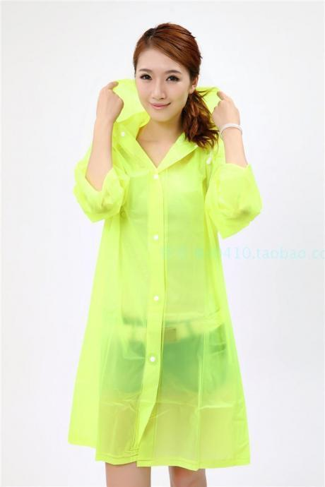 Clear Rain Jacket Rainwear Lovely Lady Girl Woman Hooded PVC Cute Water Raincoat