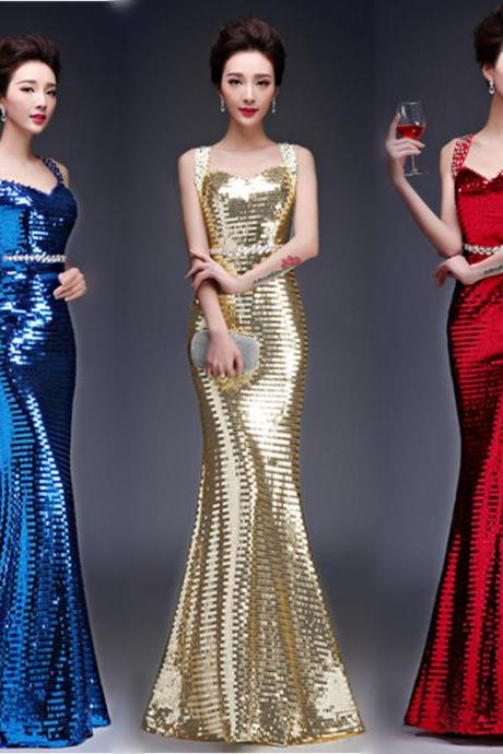 Fashion Wedding Prom Great Party Bridesmaid Colorful Shiny Sequin Sequins Dress