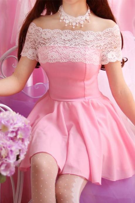 Summer New Kawaii Sweet Dolly Lolita Mori Girl Off Shoulder Chiffon Lace Dress