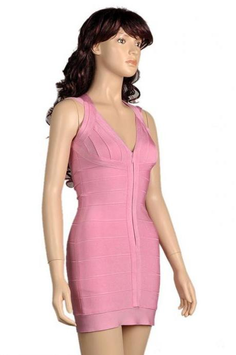 NEW GIRLS WOMEN LADIES BABY PINK BODYCON BANDAGE PARTY COCKTAIL WEDDING DRESS