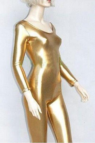 Gold Metallic Spandex Unitard Leotard Catsuit Jumpsuit Long Sleeve Super Hero