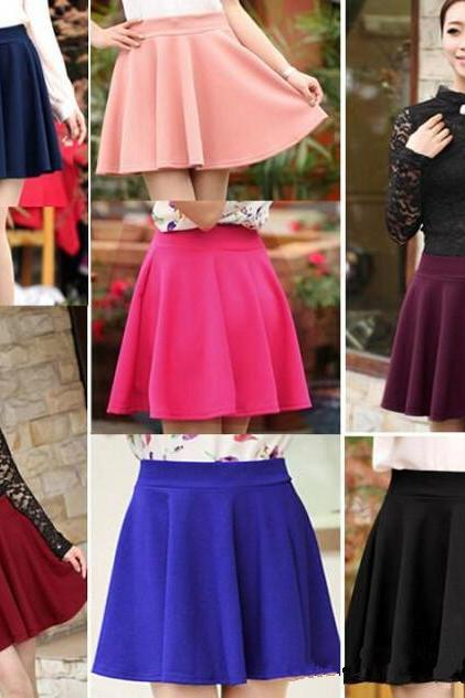 Short Stretch high Waist Skirt Plain Skater Flared Big A Line Pleated Mini Dress