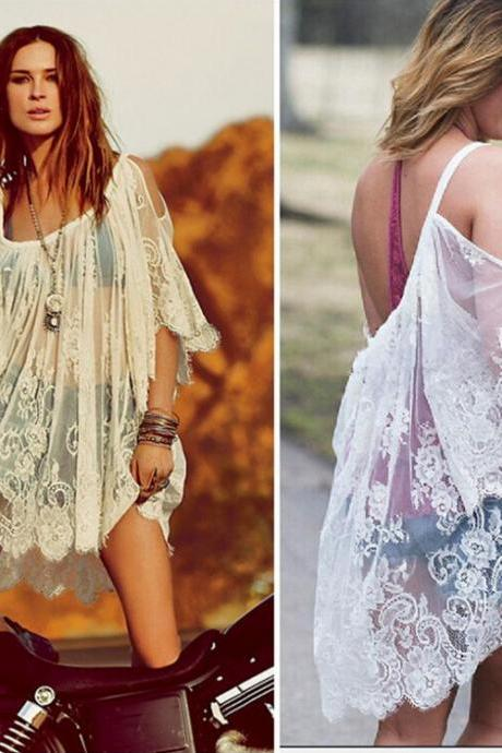 Sexy Hippie Boho Embroidered Sheer Floral Lace Crochet Mini Beach Outwear Dress