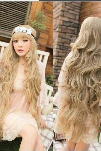 Angel Super Long Lolita Full Natural Wavy Kanekalon Hair Wig Blonde Wigs