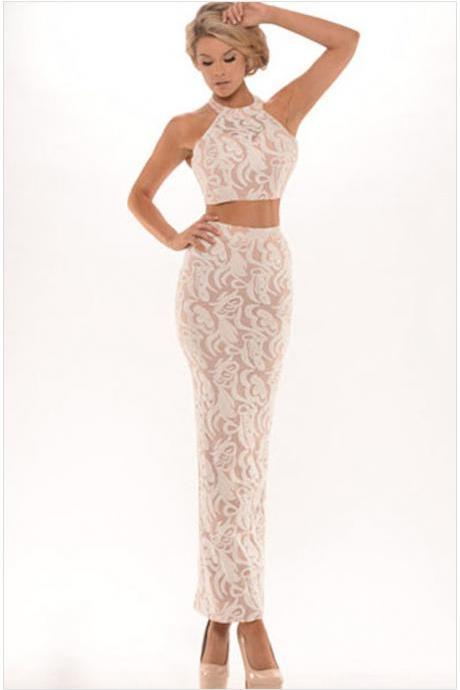 Floral Lace Textured Halter Neck Crop Top with Slit Long Formal sleeveless Dress