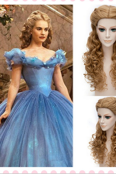 High Quality Attractive Nice Wigs Women Cinderella wig Movie Princess Party Hair