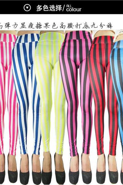 Red and White Vertical Stripes Srripe Mime Spandex Leggings Candy Cane Chrsitmas