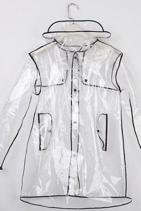 Fashion Short Long Clear Transparent PVC Runway Jacket Rain Coat Men Womens Girl