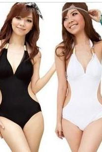 White Black One Piece Cut Out Padded Summer Beachwear Monokini Swimsuit Swimwear