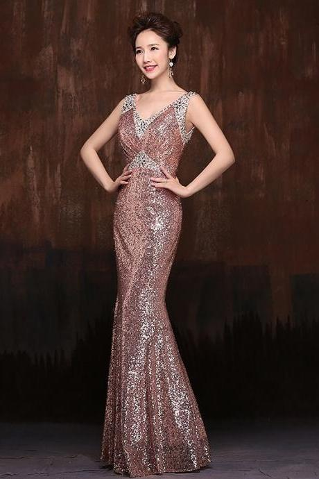 Long Mermaid Formal Prom Dresses SEQUINS Evening Pageant Wedding Party Gown