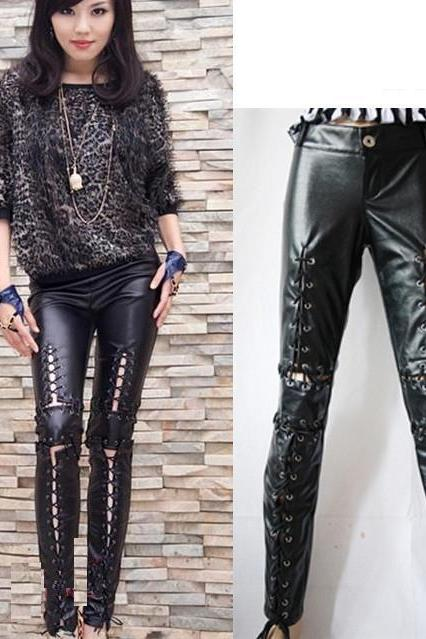 HOT Women lady Black lace up PVC leather leggings Long Pants Look Punk Leggings