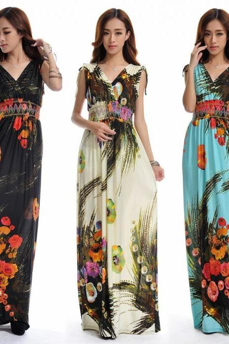 Bohemia Extra long floral Print Pattern Sexy Double deep V Neck Women Maxi Dress