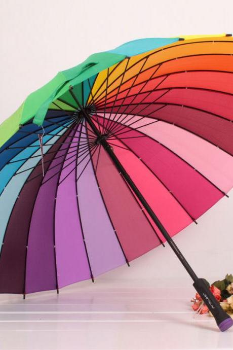 New Attractive Multicolour Women ladies Umbrella Genuine Rainbow Color Umbrellas