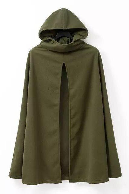 Women Lady Fashion Hooded Cloak Parka Cardigan Batwing Cape Poncho Coat Outwear