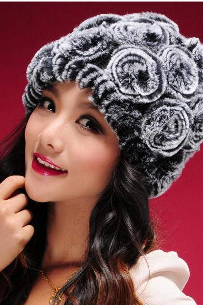 Nice Beautiful Real Rex Rabbit fur knitted Hat Cap Warm winter genuine for women