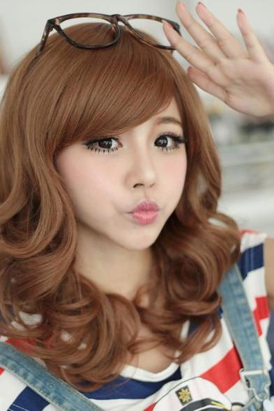 Long Big Wavy Curly Cosplay Party Lady Girl Full Fluffy Wig Wigs Hair Side Bangs