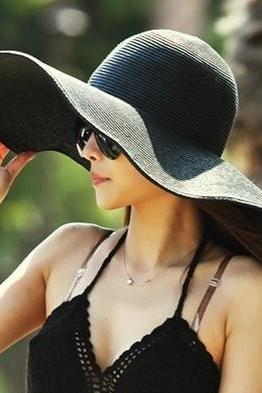 Black Floppy Sunhat Featuring Wide Brim