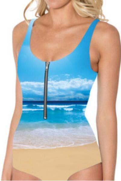 Digital Printing Blue Color Sky View Front Zipper One Piece Women Swimsuit