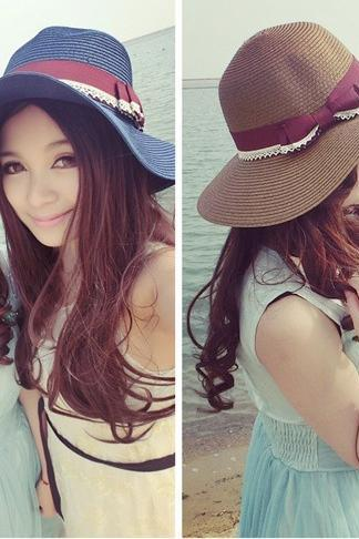 Lace Bow Shading Straw hat Summer Sandy beach Sunscreen Fisherman caps