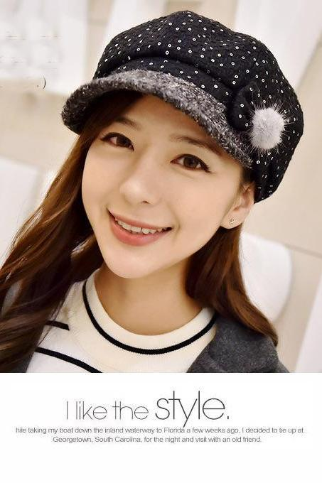Autumn And Winter Sequin Painter Hat Korea The New Tide Wild Fashion Cap
