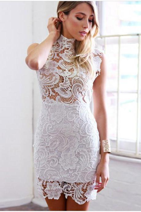Look Nice Lace Hollow out Sexy Mini Vintage party Dress Suit women Vestidos
