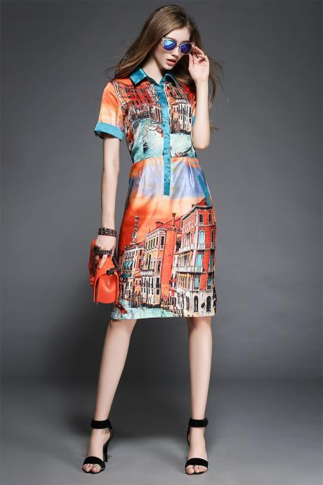Vintage Vestidos Print Casual Turn Down Collar Knee Length Party Dress Dresses
